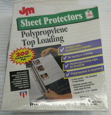 Jm Polypropylene Sheet Protectors Top Loading 200 Jumbo Pack 8 12 X 11