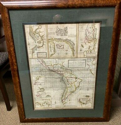 Herman Moll South Sea Company Map South America Hand Colored Circa 1720