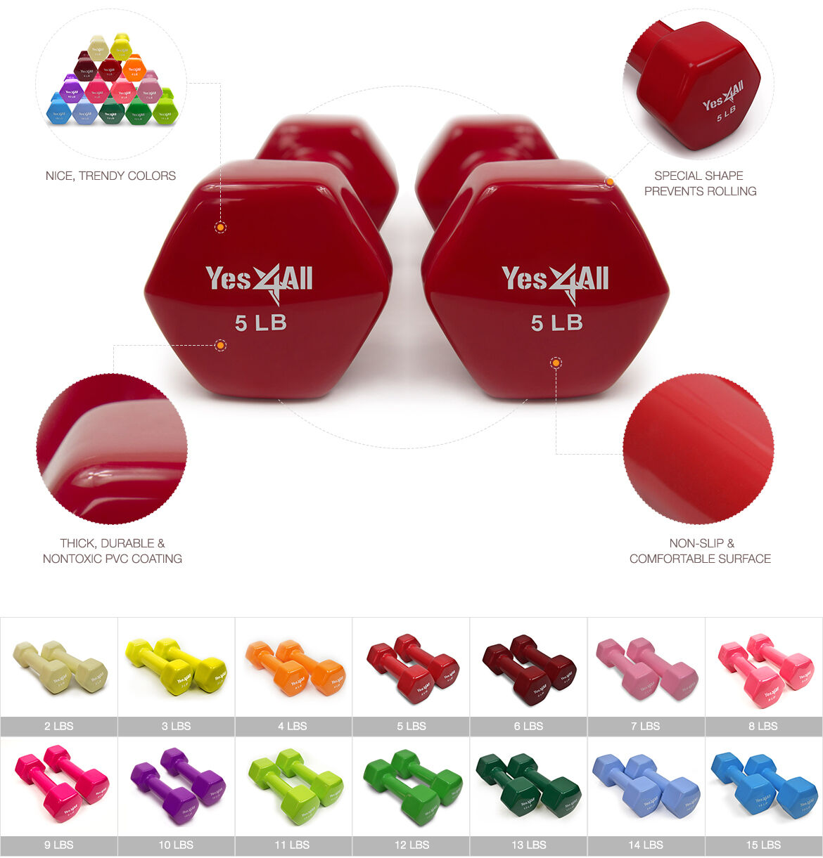 Yes4all Dumbbells Pvc Hand Weights Dumbbell 2 15 Lbs