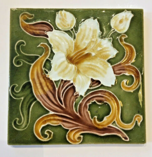 "Antique Art Nouveau 6"" Green Ivory Brown Gold Lily Tile"