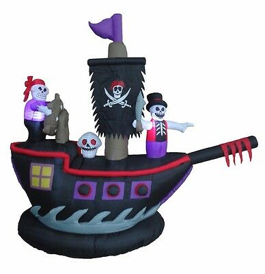 Pirate Ship Inflatable (Halloween Lighted Air Blown Inflatable Yard Decoration Pirate Ship Skeleton)