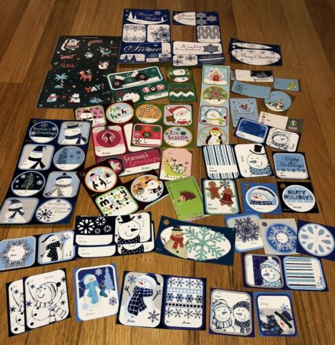 Mixed Lot of Holiday Christmas Sticker Adhesive Self-Stick Gift Tags~Blue/Multi