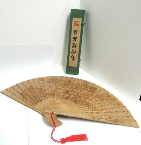 """Gift Boxed Chinese Wooden Hand Fan 2 Sided Design 9"""" Tall X 16"""" Wide NEW"""