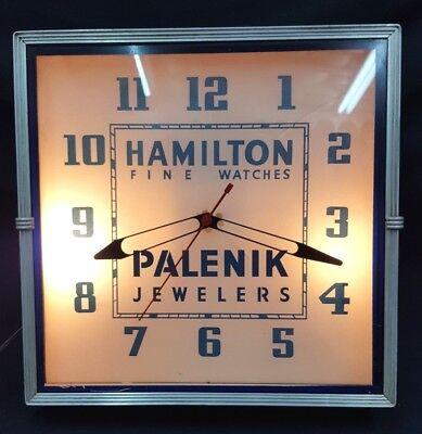 Vintage Hamilton Fine Watches Palenik Jewelers Square Electric Wall Clock