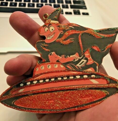 Vintage Retro WITCH ON FLYING SAUCER Halloween Christmas Ornament