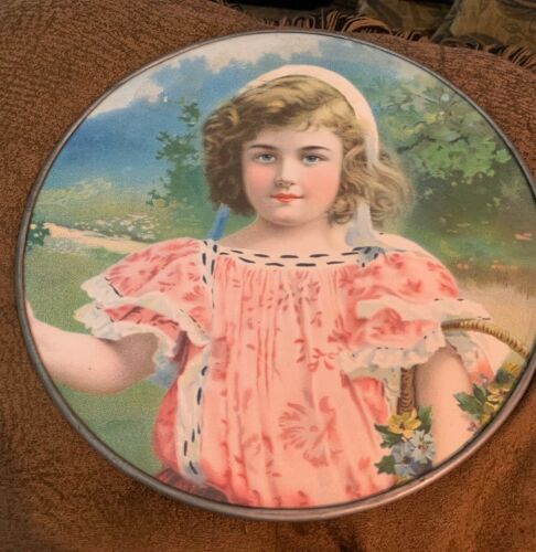 FLUE COVER LOT #10 Child Girl with Hat Pink Dress Victorian - Antique