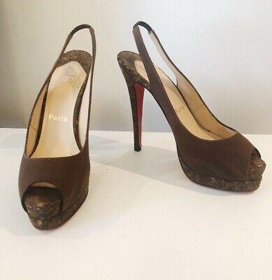 Authentic CHRISTIAN LOUBOUTIN 'Catenita' brown cork peep-top pump  $1,125 sz 39