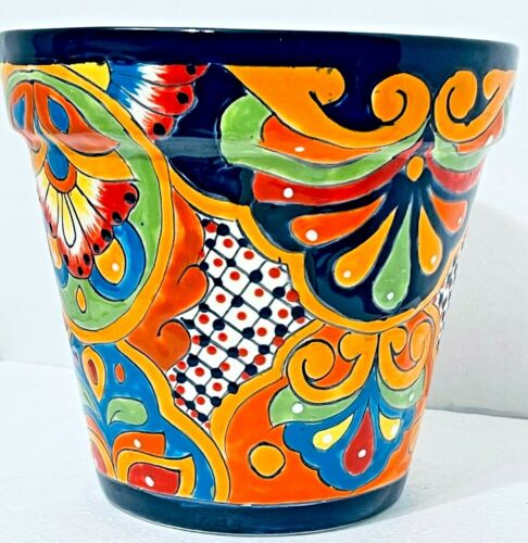 Talavera Planter Flower Pot Mexican Ceramic Pottery Folk Art