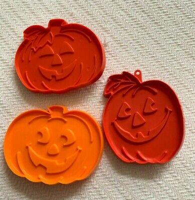 VTG HALLMARK cookie cutters Jack-o-Lanterns lot 3 HALLOWEEN orange plastic