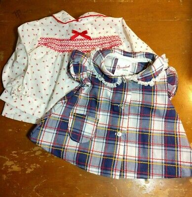 Vintage Baby Girl Dress Shirt Alexis Dreamboat Creations Floral Plaid 6-9 months
