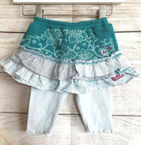 Naartjie 3-6m teal, gray, aqua floral ruffle skirt with attached leggings