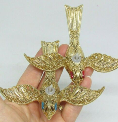 (2) Vintage Italy Plastic Gold Filigree BIRD Christmas Ornaments