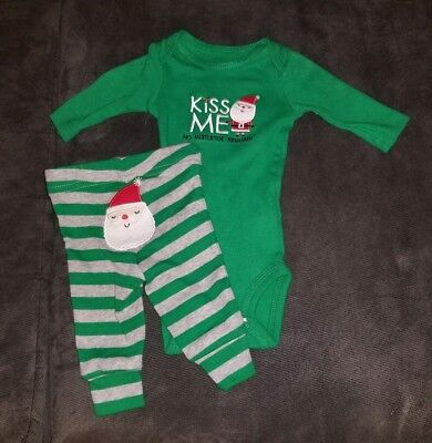 CARTER'S JUST ONE YOU NEWBORN CHRISTMAS KISS ME NO MISTLETOE REQUIRED OUTFIT