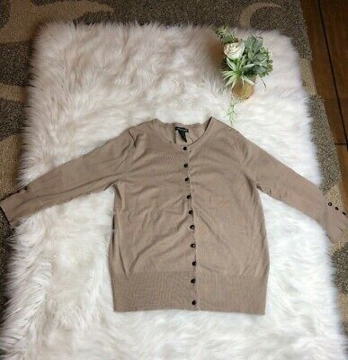 Audrey & Grace Womens Size L Tan Leather Button Up Long Sleeve Cardigan Sweater