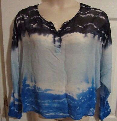 Young Fabulous & Broke Sheer Blue Dollman Sleeve BOHO Dip Dye Pullover Top MED Fabulous Sheer