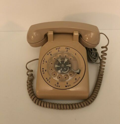 Vintage Western Electric Beige Tan Rotary Dial Desk Phone Bell System *READ*