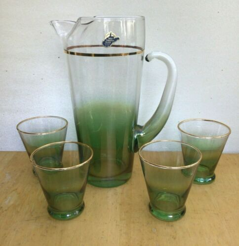 Vintage West Virginia Glass BLENDO DARK GREEN PITCHER AND 4 GLASSES with Label