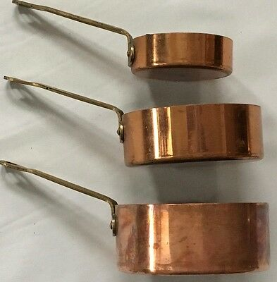 Vintage Copper Measuring Cups with Brass Handles Set of 3