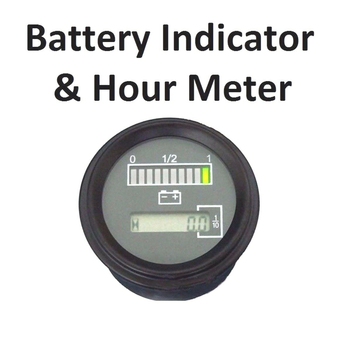 "12v 24v 36v Marine Engine Hour Meter w/ Battery Indicator Charge Status Meter 2"""