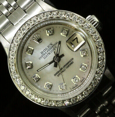 Rolex Ladies Datejust Oyster Perpetual Stainless Steel Diamond Bezel Dial
