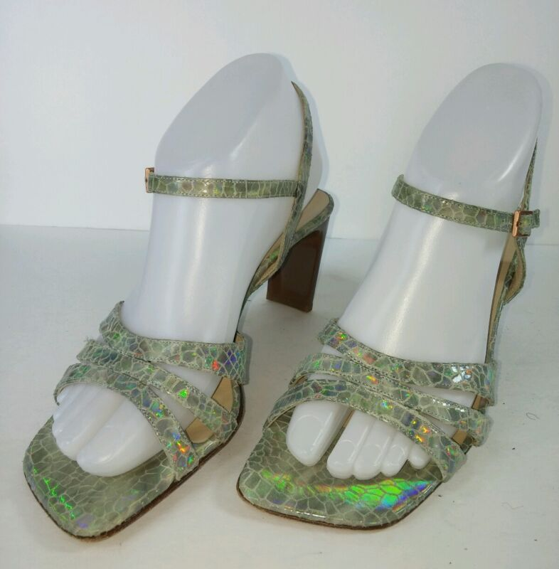 DKNY Women's Shoes Sz 7B Green Leather Strappy Sandals Wedding/Special Occasion