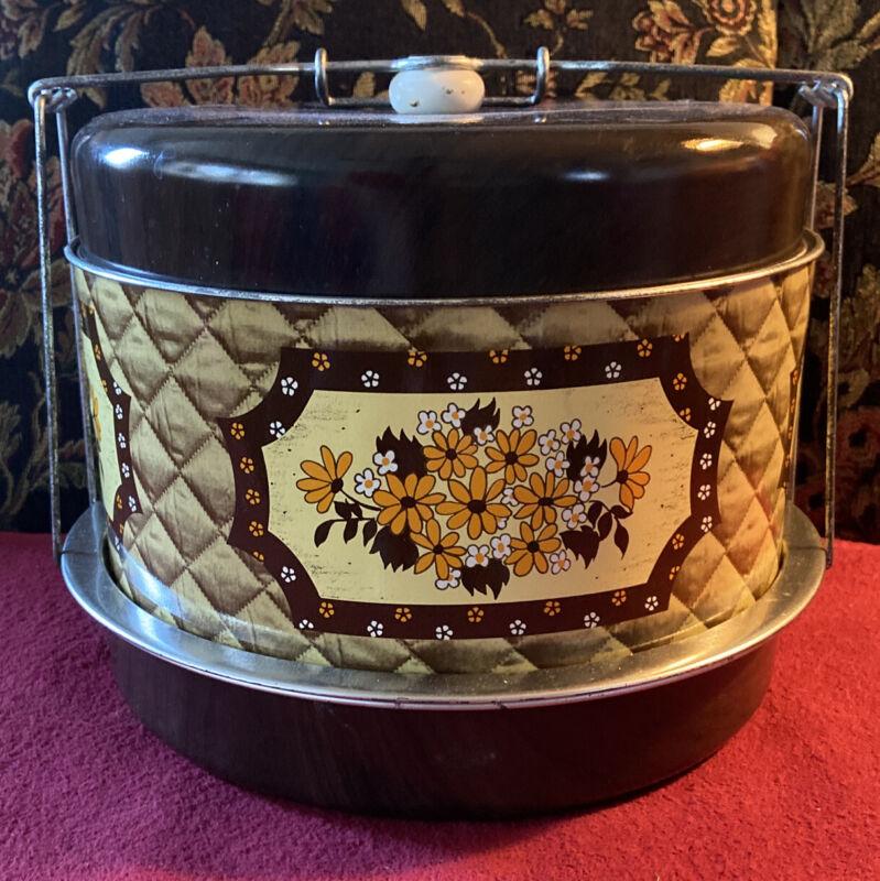 Vintage Brown w/Floral Metal 3 tiered Cake/Pie Carrier w/Lid and Lock MCM 50