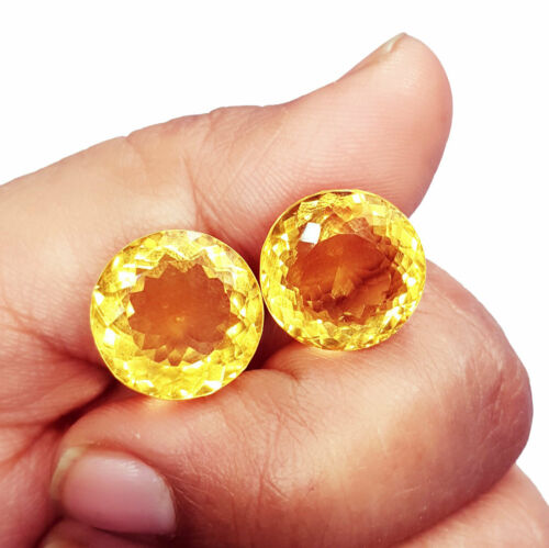 Loose Gemstone Natural Citrine 10.00 To 12.00 Cts Pair Certified ZCIT07