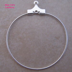 100 silver plated beading hoops findings jewelry making earrings necklaces 30mm