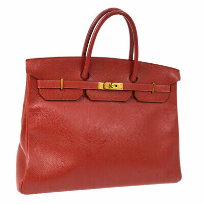 Hermes birkin 40 main sac rouge ardennes vintage ghw authentique ak36862h