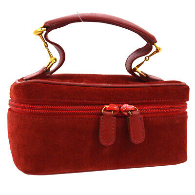 GUCCI Horsebit Cosmetic Vanity Hand Bag Red Suede Leather Vintage O02817