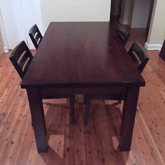 Fantastic Furniture Solid Wood Dining Table (seats 6) + 4 chairs Croydon Burwood Area Preview