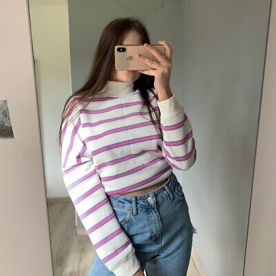 Vintage 90's Bubblegum Pink Blue & White Striped Oversized Jumper Size Small Y2k