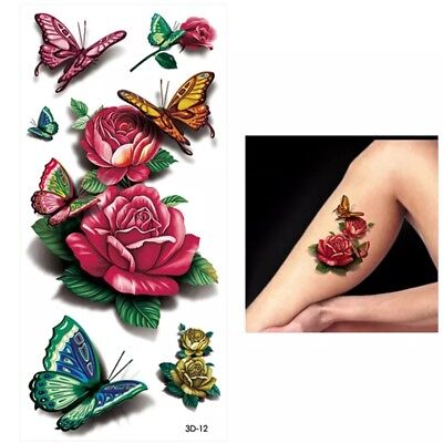 Tattoos Temporary 3 Sheets/3D Waterproof Butterfly Flower / USA Seller