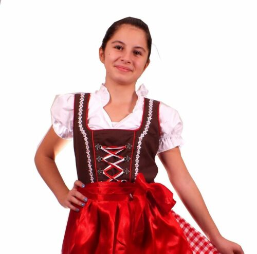 Girls,Kids,US size 6,Germany,German,Trachten,Oktoberfest,Dirndl,3-pc.brown,red