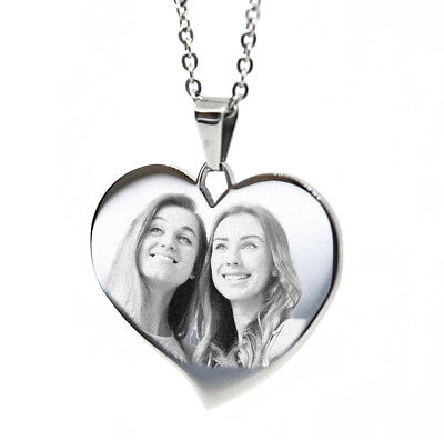 Personalised Photo/Text/Picture Engraved Large Flared Heart Pendant / Necklace.