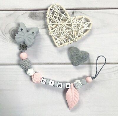 Schnullerkette Schnullerband Nuckelkette mit Namen grau rosa weiß Silikon