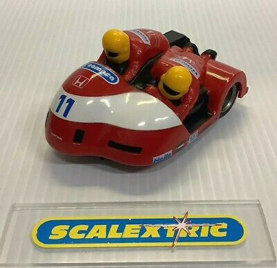 SCALEXTRIC HORNBY 1990's C238 MOTORCYCLE & SIDECAR Racing Red #11 (EXCELLENT)