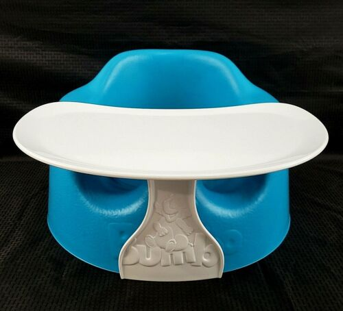 Bumbo Baby Seat Blue Safety Belt Straps Booster With Tray Excellent Condition