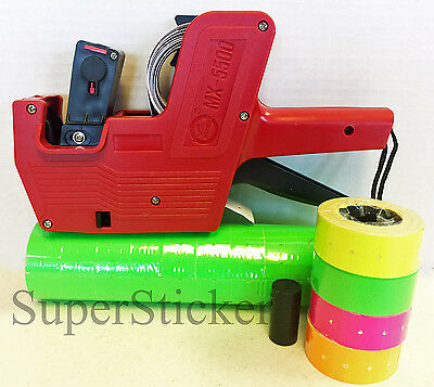 Mx-5500 8 Digits Price Tag Gun Labeler Labeller 5000 Green Labels Free Gift