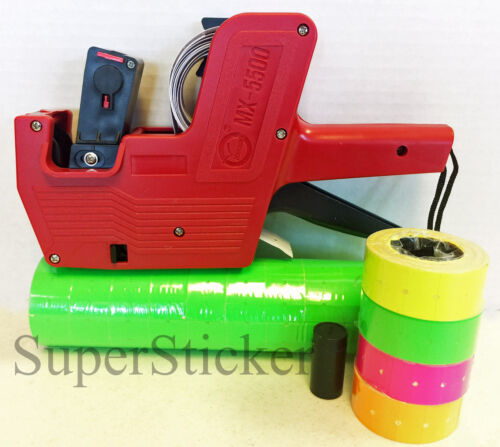 MX-5500 8 Digits Price Tag Gun Labeler Labeller + 5000 Green labels + free gift