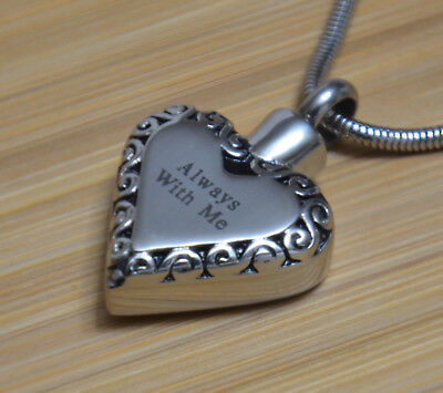 Always With Me Heart Cremation Jewelry Pendant Urn Keepsake Necklace For Ashes (Always Heart)