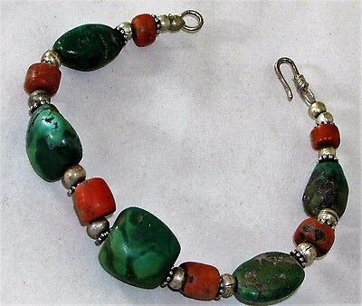 Antique Handmade Chinese Tibetan Silver Gemstone Folk Bracelet Turquoise Coral