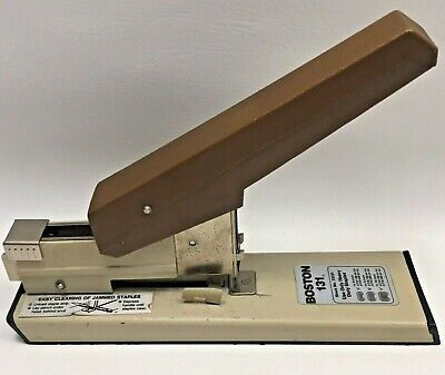 Vintage Boston 131 Heavy-duty Stapler Made In Usa Brown Handle Tested Works