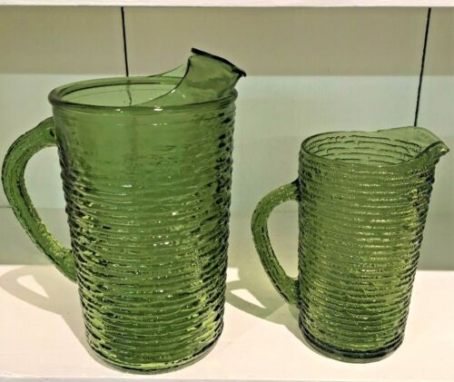 Green Glass Pitchers jugs Set of 2 Anchor Hocking Sorento Sangria Juice Water