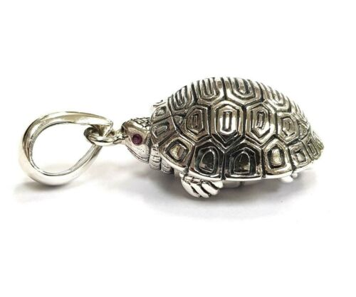 Antique Style Turtle Tortoise Pill Snuff Box Ruby Eyes Pendant 925 Silver