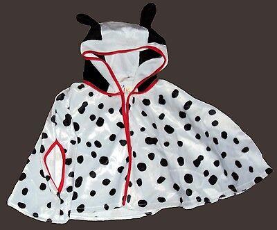 Schwarzer Hund Kostüme (Kinder Kostüm Hund Punkte Dalmatiner Dots schwarz weiß Umhang Cape Poncho Ohren)