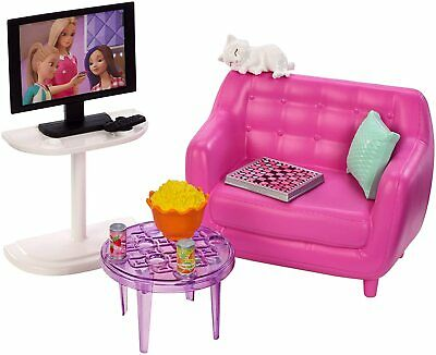 Barbie Living Room Furniture Couch Accessories & TV Pink Couch Pillow Cat Snacks