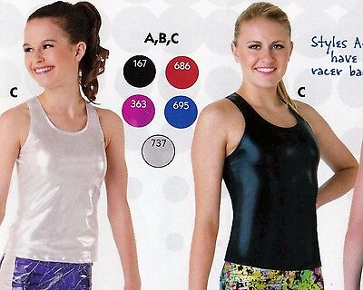 NWT Axis Racer Back Tank Top Foil 5 colors ch/ adult gymnastic Cheer Dance 97180 Adult Racer Girl