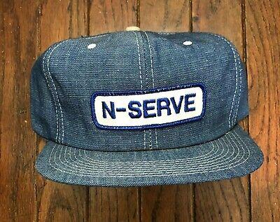 Vintage N Serve Denim Trucker Hat Snapback Hat USA Made K Brand