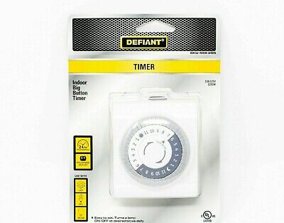 Defiant 15 Amp 24-hour Indoor Plug-in Mechanical Big Button Timer White
